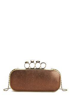 fa2252dc3356 Clutch w  4 ring top handle Brown Fashion