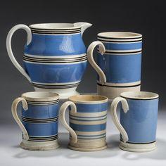 British whilteware slip-banded jug, quart mug, and three pint mugs, 19th C