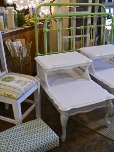Iron Bed, End Tables Painted Iron Beds, End Tables, Painted Furniture, Repurposed, Upcycle, Dining Chairs, Future, Architecture, Ideas