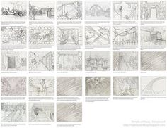 """Temple of Elang - Storyboard by ~saiyanhajime on deviantART. This presents a unique view of someone walking or driving through a place. It also has descriptions for the sound and the way the """"camera"""" is supposed to go along the bottom."""