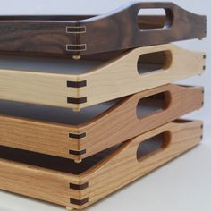 Four Serving Trays. Top to bottom; walnut, maple, cherry, oak.