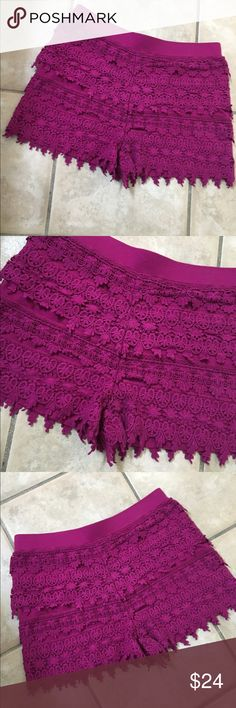 Gorgeous Berry crochet shorts! Stunning rare color - overlapping crochet detail - banded waistline  Express Shorts
