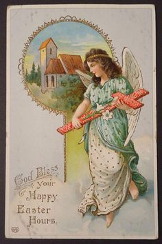 Angel With Cross Antique Easter Postcard 1912 Half-Penny