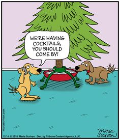 dogs drinking out of Christmas tree stand Christmas Comics, Christmas Jokes, Christmas Cartoons, Christmas Fun, Christmas Jingles, Funny Cartoons, Funny Comics, Alcohol Jokes, New Year Jokes