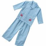 Piccalilly Organic Gingham Pyjamas Blue