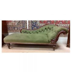 Victorian mahogany chaise longue in green fabric on porcelain castors. Green Fabric, Darkness, Porcelain, Lounge, Victorian, Couch, Room, Furniture, Beautiful