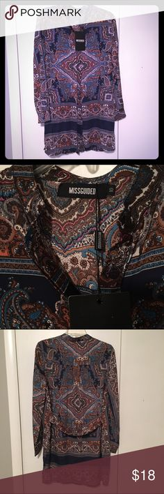 NWT Missguided Paisley Shirt Dress Brand new shirt dress from Missguided with multi-colored paisley print. Concealed front button closure and band across back to make it slightly more fitted. Note: This is a US size 6 (and fits like a women's small) Missguided Dresses Mini
