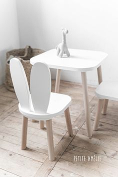 Children's Table Set with Bunny Chairs White White Childrens Furniture, Kids Furniture, Childrens Rooms, Furniture Cleaning, Cheap Furniture, Toddler Table And Chairs, Kid Table, Baby Zimmer Ikea, Kids Bedroom Ideas