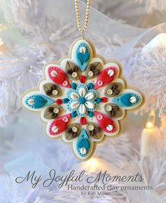 Simply lovely! - Handcrafted Polymer Clay Ornament by MyJoyfulMoments on Etsy…