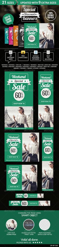Special Discount Banners  - Banners & Ads Web Template PSD. Download here: http://graphicriver.net/item/special-discount-banners-/6964618?s_rank=50&ref=yinkira