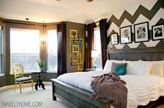 Check ou that Farmhouse Bed! Master Bedroom - Home Tour via MakelyHome.com