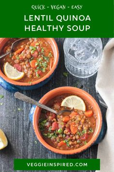 Lentil Quinoa Soup - a hearty, high-protein soup that's easy and delicious! Using pantry and fridge staples, this recipe comes together easily. Perfect for any night of the week! Vegan and Gluten Free! Easy Vegan Soup, Vegan Quinoa Recipes, Vegan Soups, Vegetarian Recipes, Healthy Soups, Lentils And Quinoa, Quinoa Soup, Soup Recipes, Dinner Recipes