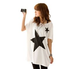 Hot New Summer Oversized Baggy Tops For Women Five-point Star Patterns Loose Short Sleeve Tee T-shirt Plus Size S-XL