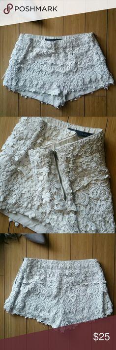 🍓MAKE OFFER🍓Zara eyelash shorts Like new shorts with detailed eyelash! Zipper on the side of shorts Zara Other