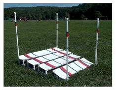 Jumps made with boards over PVC pipe frames