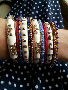 Red white and blue bangles by SignatureStyle365