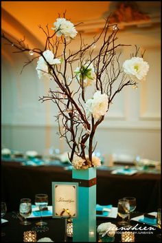 """teal """"vase"""" branches with tiny crystals and flowers- tall centerpiece idea teal-and-red-wedding-inspiration"""