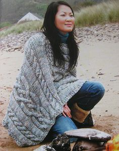 Ravelry: Classic Cabled Poncho pattern by Claire Crompton