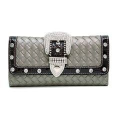 Dasein Western Rhinestone buckle wallet w/ woven texture - Pewter Cute Wallets, Gucci, Chanel, Shoulder Bag, Rhinestone, Christmas Clothes, Classic, Bags, Accessories