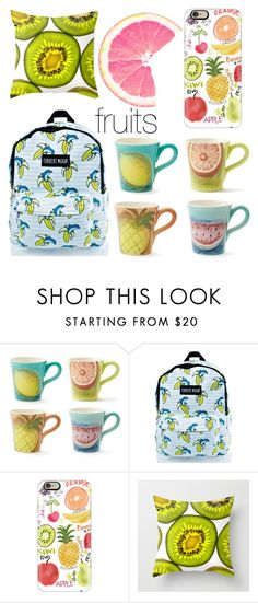 """""""#green #white #blue #red #yellow #fruits"""" by neringalampickaite ❤ liked on Polyvore featuring interior, interiors, interior design, home, home decor, interior decorating, Current Mood and Casetify"""
