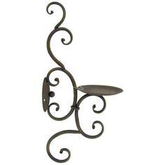 Cypress Mulch Iron Scroll Pillar Sconce
