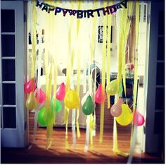 balloons on curling ribbon, streamers & happy birthday banner!
