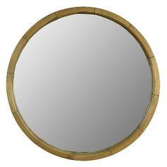 Round Mirror Wood Barrel Frame 24