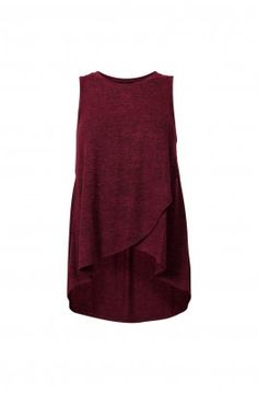 MEGAN TEXTURED CROSSOVER TANK-MULBERRY MARLE-L
