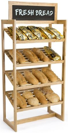 Utilize this farmers market bread display in your grocery store for a rustic promotional tool. Bread Display, Bakery Display, Bakery Shop Design, Store Design, Rack Design, Design Design, Diet Food List, Food Lists, Bread Shop