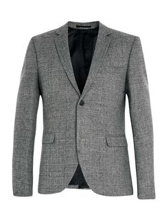 Grey Textured Wool Blend Skinny Fit Suit Jacket
