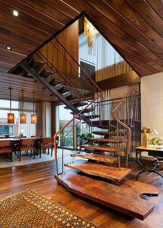 This organic modern duplex converted to a single apartment has some amazing…