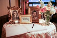 Adorable idea-childhood pictures at the guestbook table. Maybe with an engagement photo between them?