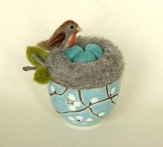 Robins Nest with Eggs Needle Felted