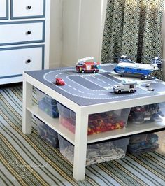Lego road plates + IKEA Lack table = Lego organization and cool play table all in Lego Play Table, Lego Table With Storage, Ikea Lack Table, Lego Table Ikea, Lack Table Hack, Toy Rooms, Kid Spaces, Small Spaces, Legos