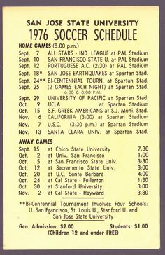 1976 SAN JOSE STATE SPARTANS ELI THOMAS MENS SOCCER POCKET SCHEDULE #Schedule
