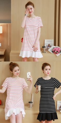 Cotton in the long section of pregnant women short-sleeved stripes T-shirt  summer maternity dress loose loose breast dress e43dbdd87