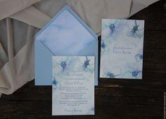 """Купить Приглашение на свадьбу """"Голубые цветы"""" - голубой, приглашения на свадьбу, свадебная полиграфия, приглашение"""
