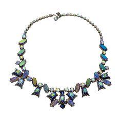 1950's Signed Elsa Schiaparelli Irridescent Blue Art Glass & Rhinestone Necklace