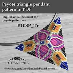Pattern for triangle pendant, peyote patterns, beading, peyote stitch, - Bonny Peyote Stitch Patterns, Beading Patterns Free, Beaded Bracelet Patterns, Loom Patterns, Beading Tutorials, Peyote Bracelet, Peyote Triangle, Triangle Pattern, Bead Crochet Rope