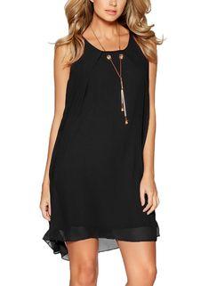 Fantaist Women's Sleeveless Casual Swing Loose Tunic Mini Short Chiffon Dress