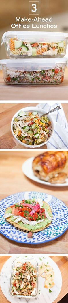 These three make-ahead lunch recipes (Shredded Chicken Tostadas, Chicken Pasta Salad, and Tabouli) will help you keep things quick, simple, delicious, and nutritious. You don't always have time to make yourself the lunch you deserve in the morning, so make a few of these on Sunday, pop them in the fridge, and then grab and go throughout the week!