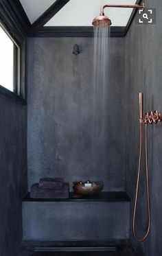 matte charcoal and shiny copper #bathroomideas #bathroomremodel