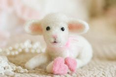 """""""Lammie""""  Needle Felted Lamb with Hearts  thefeltedcottage, $50.00 4.5"""" Sweetest little lamb ever♥"""