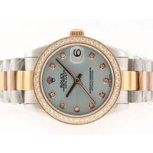 Rolex Datejust Swiss ETA 2836 Movement Two Tone Diamond Marking and Bezel with Light BlueDial    $318.00  #cheap #luxury #watches