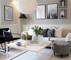 A beautiful living room by @erikas.home 👈🏻 Vita Eos light shade available online 💫 . #livingroom #livingroomdecor #nordichome #nordicinspiration