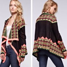 GORGEOUS COLORFUL TRIBAL/AZTEC PRINT CARDIGAN!❤️ Open Draped Cardigan Perfect for Fall/ Winter! Beautiful  Coral, Green, & Black Colors! Sweaters Cardigans