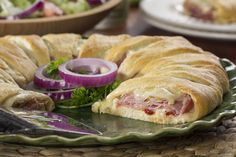 Layered Italian Crescent Ring - This is one of the easiest crescent roll recipes ever, and everyone loves it! It's like a family-sized sandwich!