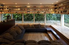 Lowered Reading Room With Glass Walls