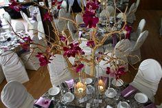 5Ssens - Branches and orchids as a centerpiece.  Les branches avec des orchidees comme centre de tables.