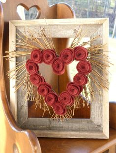 primitive valentine wreaths   Rustic Valentine's Day Heart Shaped Wreath with by marigregory...I ...